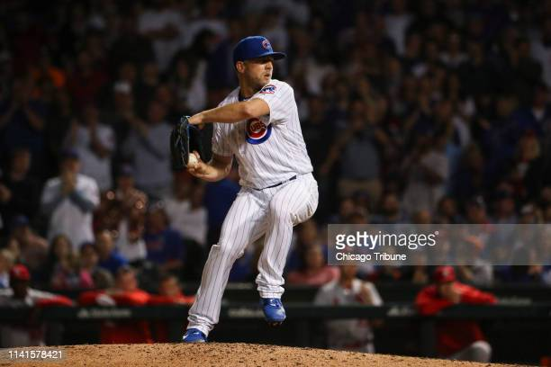 Chicago Cubs relief pitcher Brandon Kintzler pitches during the seventh inning against the St Louis Cardinals on Sunday May 5 2019 at Wrigley Field...