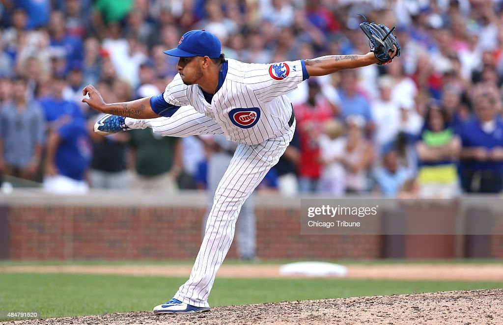 Chicago Cubs Relief Pitcher Hector Rondon 56 Follows Through While Pitching To The Atlanta