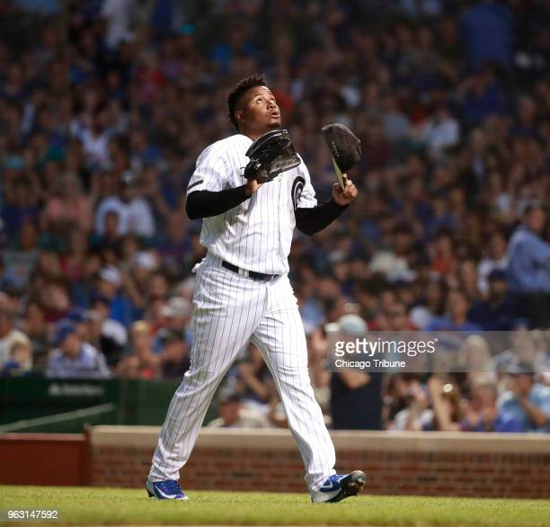 Chicago Cubs relief pitcher Randy Rosario reacts after getting out of the third inning against the San Francisco Giants on Sunday May 27 2018 at...