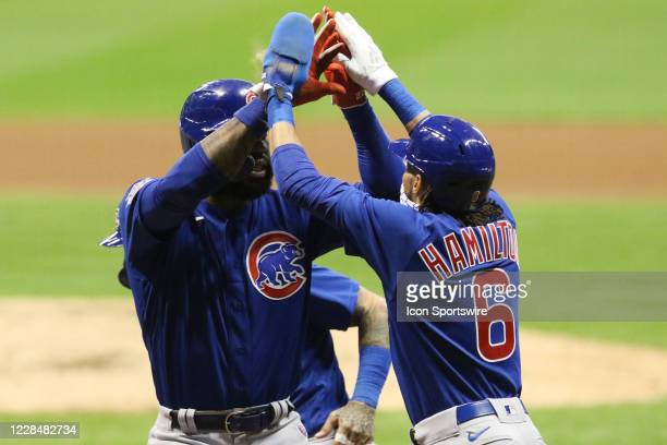 Chicago Cubs right fielder Jason Heyward celebrates with Chicago Cubs center fielder Billy Hamilton during a game between the Chicago Cubs and the...