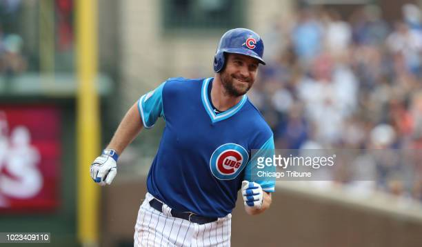 Chicago Cubs second baseman Daniel Murphy rounds the bases after hitting a tworun home run in the second inning against the Cincinnati Reds on...