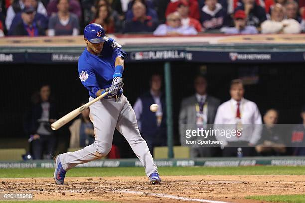 Chicago Cubs shortstop Addison Russell hits a grand slam in the third inning during game 6 of the 2016 World Series against the Chicago Cubs and the...