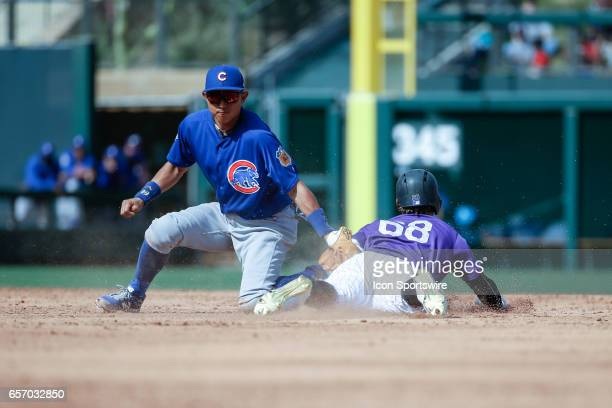 Chicago Cubs shortstop Munenori Kawasaki attempts to tag out Colorado Rockies left fielder Raimel Tapia on a steal during the spring training...