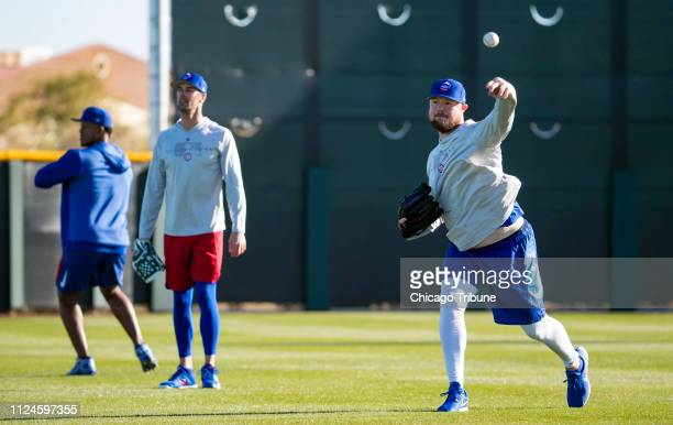 Chicago Cubs starting pitcher Cole Hamels and Jon Lester on Tuesday Feb 12 2019 as they report to spring training in Mesa Ariz