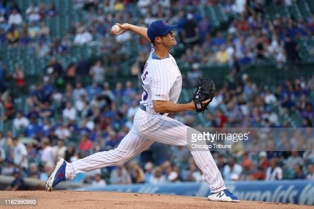Chicago Cubs starting pitcher Cole Hamels throws during the first inning against the San Francisco Giants at Wrigley Field in Chicago on Tuesday Aug...