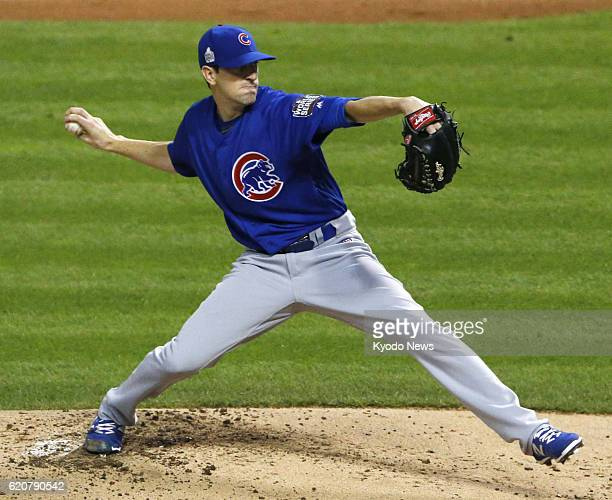 Chicago Cubs starting pitcher Kyle Hendricks throws against the Cleveland Indians in Game 7 of the World Series in Cleveland on Nov 2 2016 The Cubs...