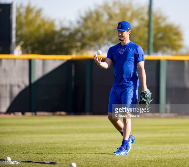 Chicago Cubs starting pitcher Yu Darvish on Tuesday Feb 12 2019 as the team reports to spring training in Mesa Ariz