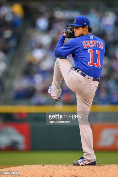 Chicago Cubs starting pitcher Yu Darvish pitches against the Colorado Rockies in the first inning during a regular season Major League Baseball game...