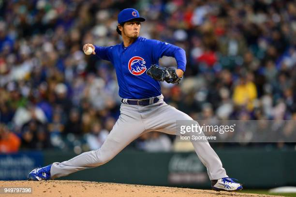 Chicago Cubs starting pitcher Yu Darvish pitches against the Colorado Rockies in the fourth inning during a regular season Major League Baseball game...