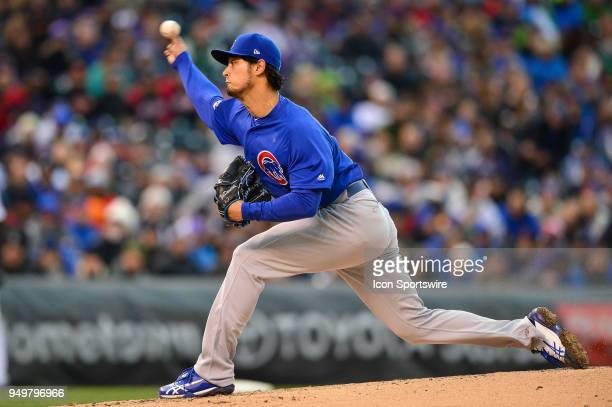 Chicago Cubs starting pitcher Yu Darvish pitches during a regular season Major League Baseball game between the Chicago Cubs and the Colorado Rockies...