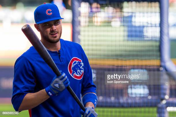 Chicago Cubs Third base Kris Bryant holds his bat after taking batting practice prior to an MLB game between the Chicago Cubs and the Milwaukee...