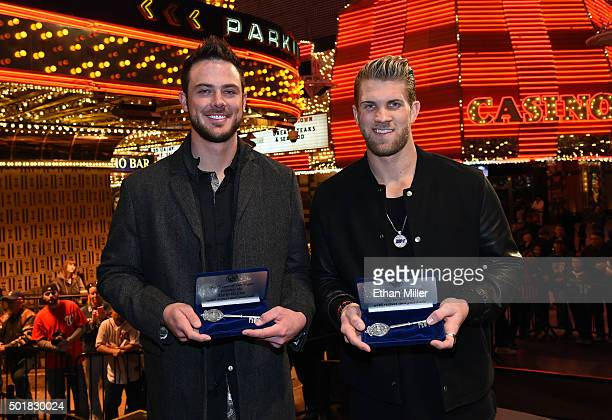 Chicago Cubs third baseman and Major League Baseball 2015 National League Rookie of the Year Kris Bryant and Washington Nationals right fielder and...
