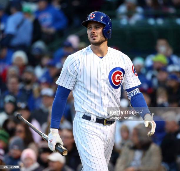 Chicago Cubs third baseman Kris Bryant after he struck out during the first inning against the New York Yankees on Sunday May 7 2017 at Wrigley Field...