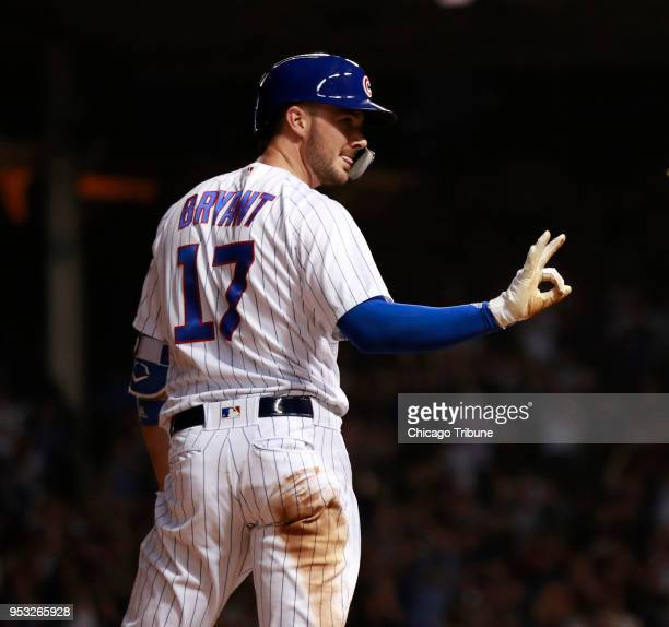 Chicago Cubs third baseman Kris Bryant after his triple against the Colorado Rockies during the sixth inning of their game at Wrigley Field on Monday...