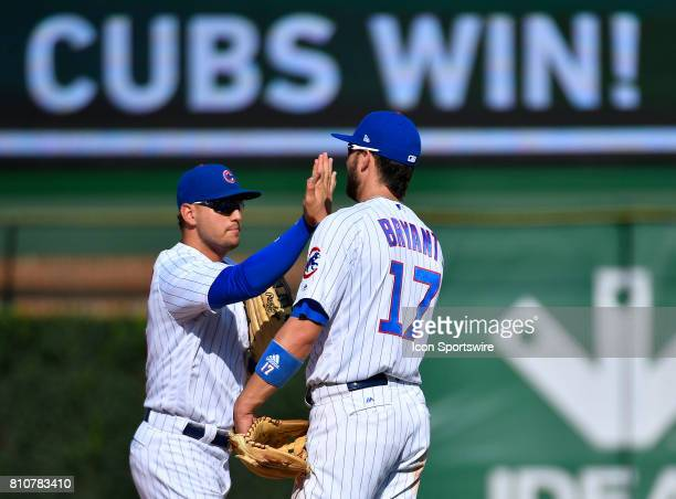 Chicago Cubs third baseman Kris Bryant and Chicago Cubs left fielder Jon Jay celebrates the win of the game between the Pittsburg Pirates and the...