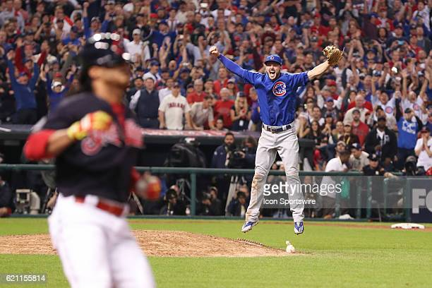 Chicago Cubs third baseman Kris Bryant celebrates after winning game 7 of the 2016 World Series against the Chicago Cubs and the Cleveland Indians at...