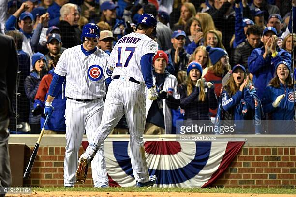 Chicago Cubs third baseman Kris Bryant celebrates his home run during the fourth inning of the 2016 World Series Game 5 between the Cleveland Indians...