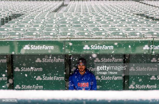 Chicago Cubs third baseman Kris Bryant checks out the new dugout and the snow on Monday April 9 2018 at Wrigley Field in Chicago Ill The team's home...