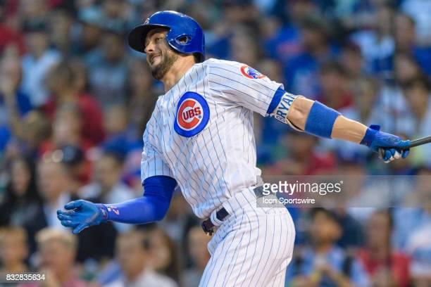 Chicago Cubs third baseman Kris Bryant double in the 1st inning during an MLB game between the Cincinnati Reds and the Chicago Cubs on August 14 at...