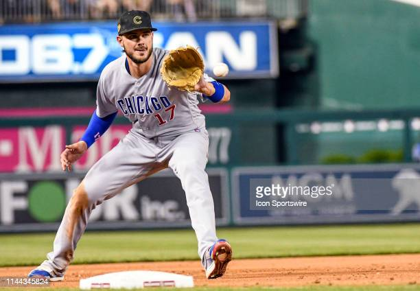 Chicago Cubs third baseman Kris Bryant fields a ground ball during the game between the Chicago Cubs and the Washington Nationals on May 17 at...