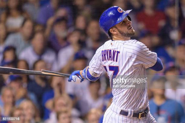 Chicago Cubs third baseman Kris Bryant flies out in the 7th inning during an MLB game between the Cincinnati Reds and the Chicago Cubs on August 14...