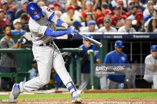 Chicago Cubs third baseman Kris Bryant gets a base hit during game two of the NLDS between the Chicago Cubs and the Washington Nationals on October 7...