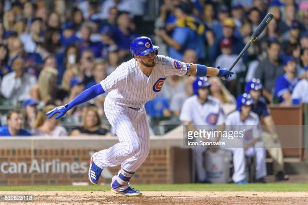 Chicago Cubs third baseman Kris Bryant grounds to second base in the 6th inning during an MLB game between the Cincinnati Reds and the Chicago Cubs...