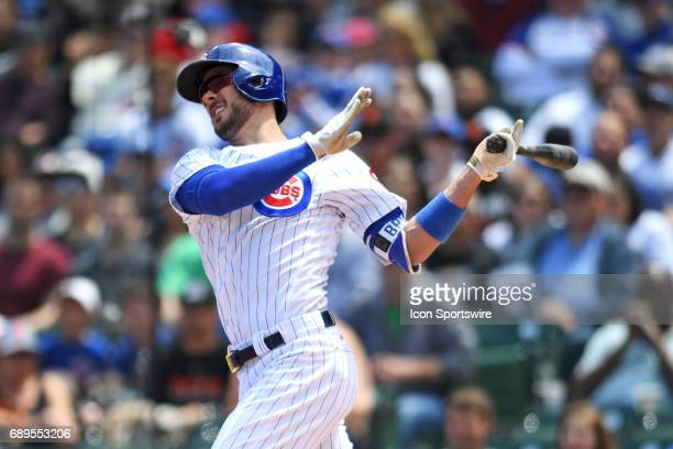 Chicago Cubs third baseman Kris Bryant hits a home run in the first inning during a game between the San Francisco Giants and the Chicago Cubs on May...