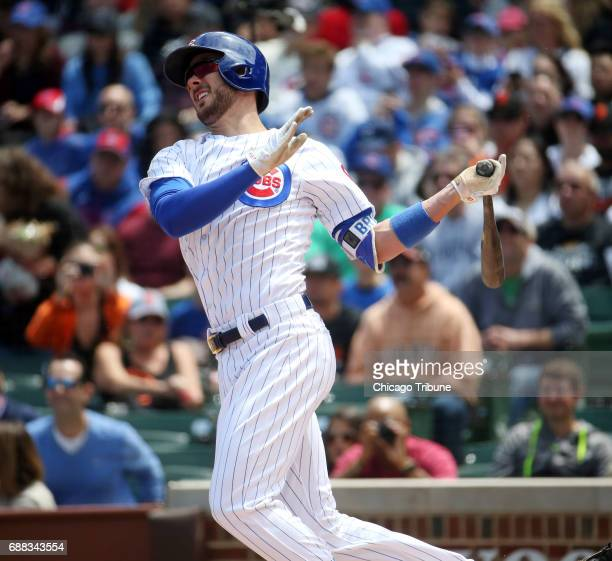 Chicago Cubs third baseman Kris Bryant hits a home run off San Francisco Giants starting pitcher Jeff Samardzija in the first inning Thursday May 25...