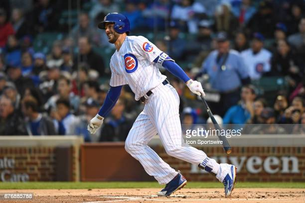 Chicago Cubs third baseman Kris Bryant hits a solo home run in the first inning during a game between the Philadelphia Phillies and the Chicago Cubs...