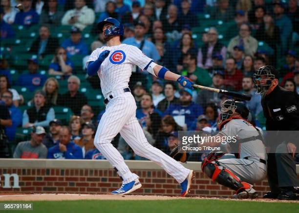 Chicago Cubs third baseman Kris Bryant hits a tworun home run against the Miami Marlins during the first inning on Monday May 7 2018 at Wrigley Field...