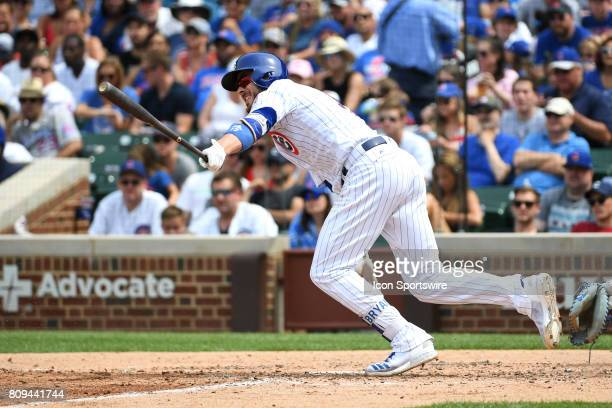 Chicago Cubs third baseman Kris Bryant hits an RBI single in the fifth inning during a game between the Tampa Bay Rays and the Chicago Cubs on July 4...