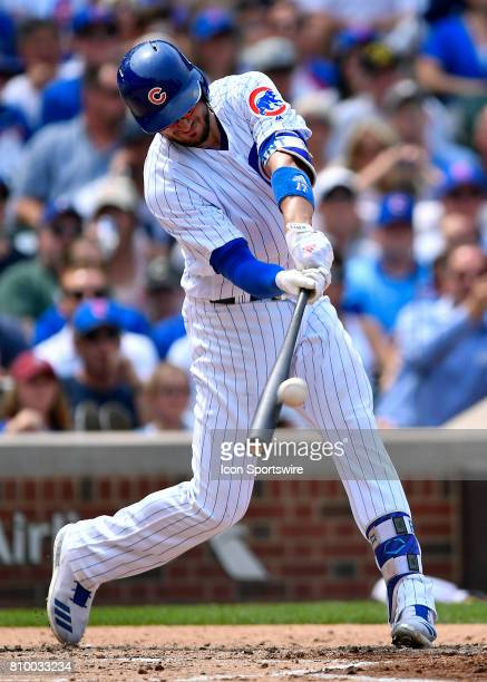 Chicago Cubs third baseman Kris Bryant hits the ball for a fly out during the game between the Tampa Bay Rays and the Chicago Cubs on July 5 2017 at...