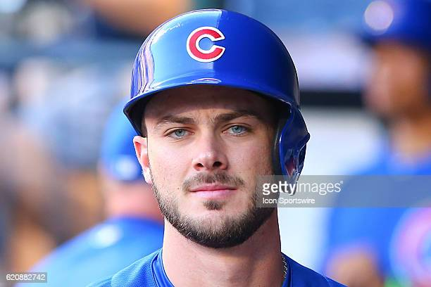 Chicago Cubs third baseman Kris Bryant in the dugout prior to the game between the New York Mets and the Chicago Cubs played at Citi Field in...
