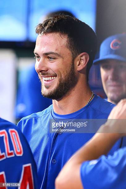Chicago Cubs third baseman Kris Bryant is all smiles in the dugout during the fourth inning during the game between the New York Mets and the Chicago...