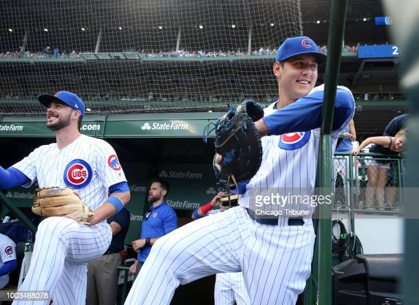 Chicago Cubs third baseman Kris Bryant left and first baseman Anthony Rizzo wait to take the field against the St Louis Cardinals in the second game...