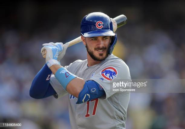 Chicago Cubs third baseman Kris Bryant on deck during an at bat in the sixth inning of a game against the Los Angeles Dodgers played on June 16, 2019...