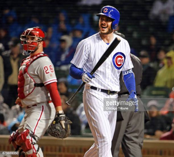 Chicago Cubs third baseman Kris Bryant reacts after striking out during the first inning against the Philadelphia Phillies on Monday May 1 2017 at...
