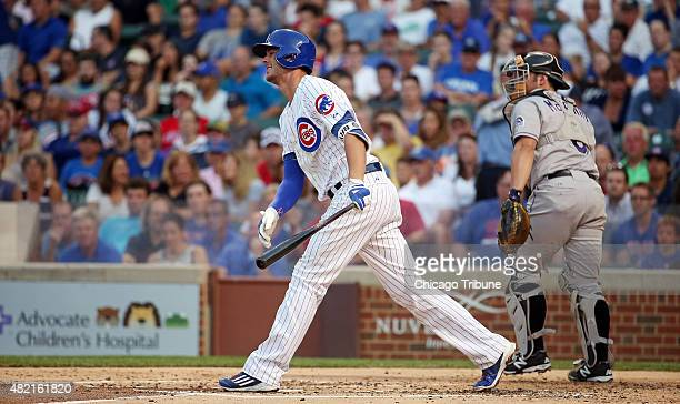 Chicago Cubs third baseman Kris Bryant reacts to striking out swinging to end the first inning on Monday July 27 at Wrigley Field in Chicago