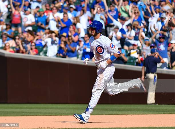 Chicago Cubs third baseman Kris Bryant rounds first base during the game between the Pittsburg Pirates and the Chicago Cubs on July 7 2017 at Wrigley...