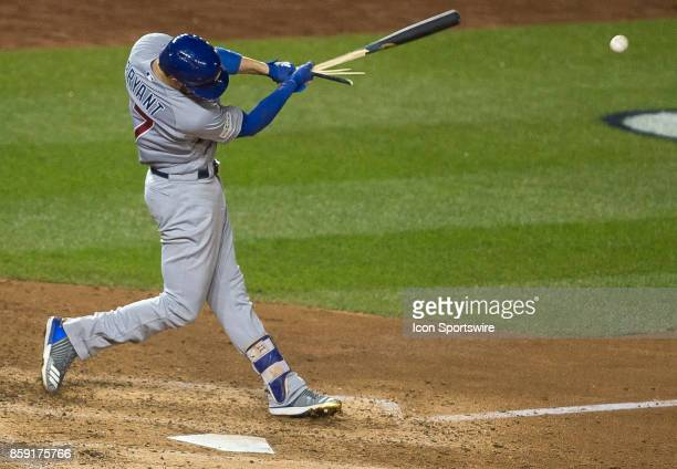 Chicago Cubs third baseman Kris Bryant shatters his bat on this hit during game two of the NLDS between the Chicago Cubs and the Washington Nationals...