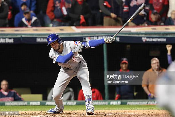 Chicago Cubs third baseman Kris Bryant strikes out during Game 1 of the 2016 World Series against the Chicago Cubs and the Cleveland Indians at...
