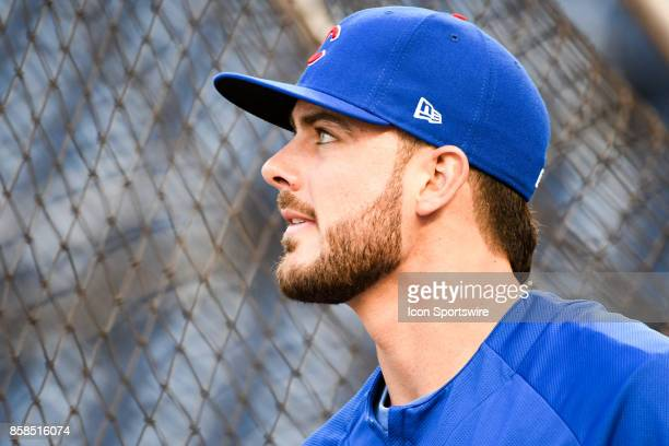 Chicago Cubs third baseman Kris Bryant takes batting practice prior to the first game of the National League Division Series between the Washington...
