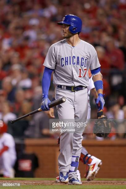 Chicago Cubs third baseman Kris Bryant walks back to the dugout after striking out during the first inning of a baseball game against the St Louis...