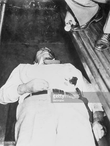 Chicago Dillinger's End They had to kill John Dillinger to get him Here he lies in a police patrol wagon after three bullets fired by Federal...