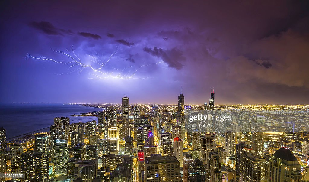 Chicago downtown night panorama during thunderstorm : Stock Photo