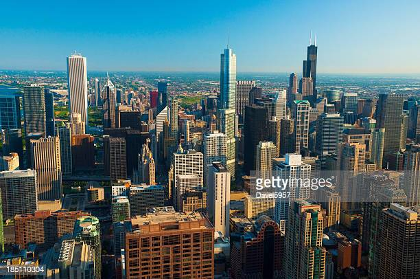 Chicago downtown skyline aerial