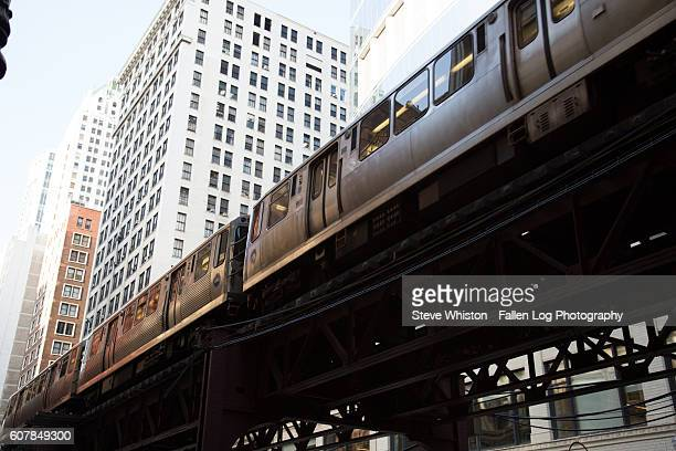 Chicago Downtown with Elevated Train