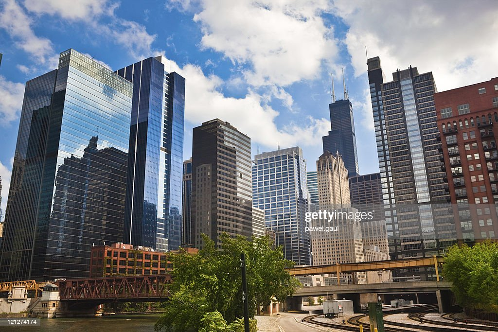 Chicago financial district : Stock Photo