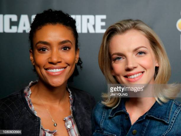 'Chicago Fire' cast member Kara Killmer and Annie Ilonzeh arrive on the red carpet for the 4th Annual OneChicago Press Day in Chicago September 10...